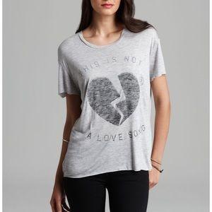 Zoe Karssen Graphic Tee Distressed Love Song Top